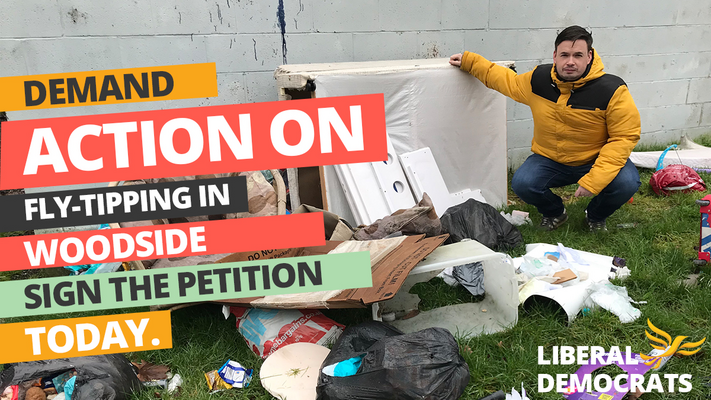 CLLR GREG SPRUCE WOODSIDE FLY TIPPING PETITION